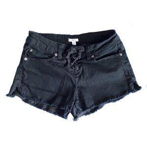 Ardene - Black Frayed Lace Up Shorts